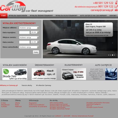 Hasła: Warszawa wynajem samochodów powinno się wprowadzić w Google, by wyszukać spółki, jakich domeną jest wypożyczalnia aut. Rezultatów szukania jest mnóstwo. My namawiamy do odwiedzenia witryny: carway.pl. Przedstawione tu realizacje obejmują wynajem długoterminowy samochodów, krótkoterminowy lub udostępnienie samochodu na czas naprawienia. Atrybutami danej marki są rzetelność, wysoka klasa udostępnianych świadczeń i korzystne ceny. Uznana wypożyczalnia samochodów (Poznań, Gdańsk, Łódź, Lublin) - marka CARWAY zaprasza do współpracy klientów prywatnych jak też firmy.