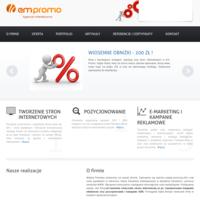 Powszechnie wiadomo, że jeśli Firma nie istnieje w internecie, nie istnieje wcale. Tworzeniem profesjonalnych stron internetowych zajmuje się firma Em-Promo, która oferuje usługi dla firm, osób prywatnych i instytucji. Poza samym Webdesignem, firma oferuje również usługi takie jak, pozycjonowanie, social media, e-marketing itp. W swoim dorobku Em-Promo ma wiele projektów realizowanych zarówno dla polskich, jak i zagranicznych przedsiębiorstw.  Firma działa na terenie Leszna, Poznania i Wrocławia, ale dzięki specyfice pracy zdalnej, może drogą elektroniczną prowadzić współpracę z Klientami z całego kraju. Zapraszamy do sprawdzenia oferty.  ./_thumb/www.em-promo.pl.png