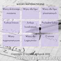 Na stronie znajduje się lista wzorów matematycznych. Można tu znaleźć wzory funkcji liniowej, kwadratowej oraz pochodnych funkcji, a także na pola figur płaskich i przestrzennych.