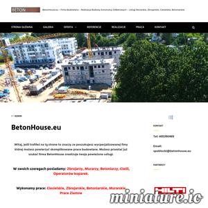 Firma budowlana BetonHouse specjalizuje się w realizacji zadań związanych z budową budynków mieszkalnych, konstrukcji żelbetowych oraz przemysłowych do stanu stanu surowego. Dostosowujemy nasze usługi do potrzeb każdego Inwestora indywidualnie. Stale monitorujemy zmieniający się rynek branży budowlanej, aby móc zaproponować tylko najlepsze rozwiązania.  Usługi nasze opieramy o bardzo dobrze wyszkolonych pracowników z wykorzystaniem tylko i wyłącznie profejonalnych oraz bezpiecznych elektronarzędzi, które pomagają nam wykonywać powierzone zadania.
