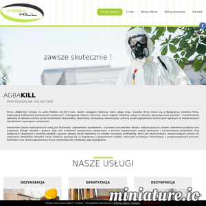 """Firma """"Agba-Kill"""" istnieje na rynku Polskim od 2011 roku. Swoim zasięgiem obejmuje rejon całego kraju. Siedziba Firmy mieści się w Bydgoszczy. Jesteśmy firmą, wykonującą białkowanie pomieszczeń sanitarnych, impregnację drewno-ochronną, mycie zsypów. Świadczy usługi w zakresie opracowywania procedur i monitorowania zakładów w zakresie ochrony przed szkodnikami (dezynsekcji, dezynfekcji, deratyzacji, deodoryzacji, ochrony przed zagrożeniami sanitarnymi) zgodnych ze współczesnymi standardami i wymogami sanitarnymi. Gwarantem jakości wykonywanych usług jest fachowość, odpowiednie wyszkolenie i uczciwość pracowników. Wiedza zdobyta podczas szkoleń, wieloletnia praktyka oraz znajomość biologii owadów i gryzoni, daje nam możliwość zastosowania skutecznych, a zarazem bezpiecznych metod zwalczania i monitorowania szkodników. Przy działaniach związanych z kontrolą owadów i gryzoni, główny nacisk kładziemy na szeroko rozumianą profilaktykę, która jest skuteczniejsza, bezpieczniejsza i tańsza niż"""